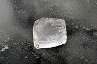 Broken pieces of ice on an ice floe.