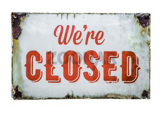 Vintage Store Closed Sign