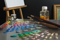 Artist's paint palette and workspace.