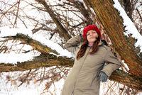 Teenage girl in red cap portrait
