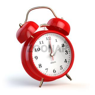 Ringing alarm clock isolated on white. Wake up concept.