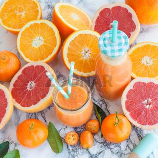 Saft mit frischen Zitrusfruechten