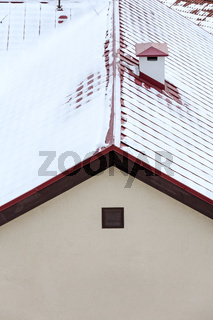 red roof under snow