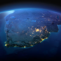 Detailed Earth. South Africa on a moonlit night