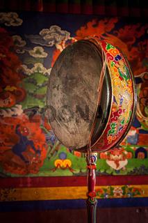 Gong drum in Spituk monastery. Ladadkh, India