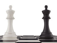 Black and white king on a chess board