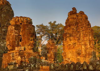 Giant stone faces at Bayon Temple in Cambodia