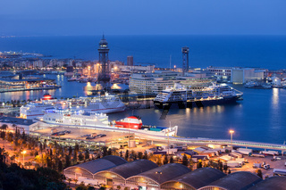 Cruise Port Terminal in Barcelona at Night
