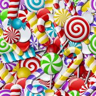 Seamless background with colorful candies.