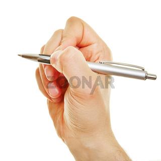 Hand von der Seite hält Kugelschreiber