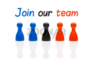 Business concept join our team with marker text. Three colors pawn figures isolated on white background.