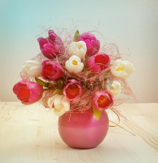 vintage tulip bouquet on wood