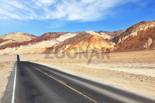 Magnificent  smooth road in Death Valley Desert