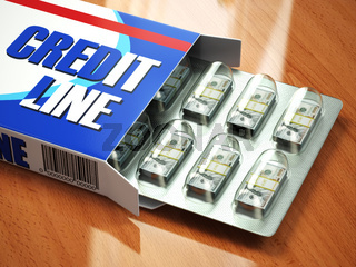 Credit line concept Pack of dollars as pills in blister pack.