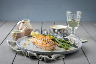 Salmon Filet with Green Asparagus