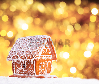 gingerbread house with bokeh