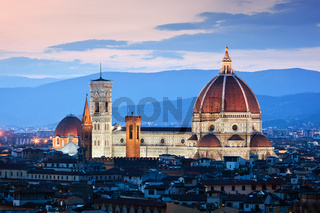 Florence, Italy sunset skyline. Cathedral of Saint Mary of the Flowers. Vintage