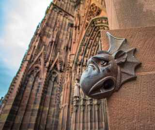 Sculpture of gargoyle, Cathedral of Our Lady of Strasbourg, Alsace, France