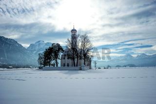 Wallfahrtskirche St. Coloman, Schnee, Schwangau, Allgäu, Bayerisch Schwaben, Bayern, Deutschland, Europa