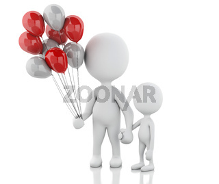 3d parents with children and balloons
