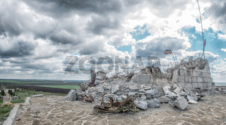 Monument to Soviet soldiers, destroyed after the hostilities of 2014. DPR, Ukraine, Saur-Tomb.