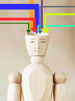 Many sources of information fill human head. Concept of man conscious