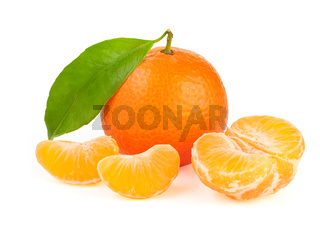 Orange tangerine with leaf isolated