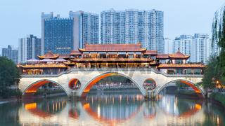 Chengdu Anshun bridge at dusk