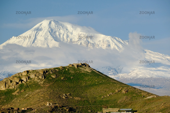 Hill landscape with Ararat mountain at background
