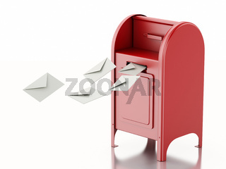 3d Red mail box with heap of letters.