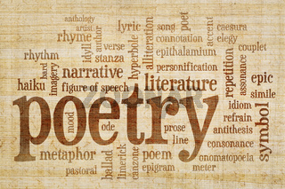 poetry word cloud on papyrus paper