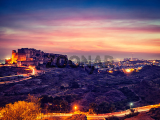 Mehrangarh fort in twilight. Jodhpur, India