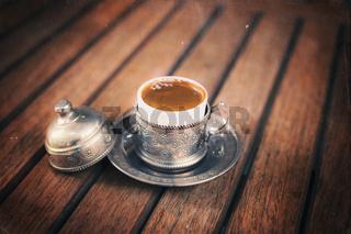 Retro style image of traditional turkish coffee