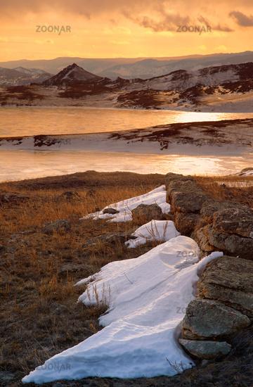 Siberian landscape near lake Baikal at sunse