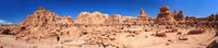 Panorama of Hoodoo Rock pinnacles in Goblin Valley State Park Utah USA