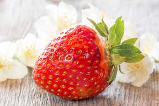 Ripe strawberry and white flowers