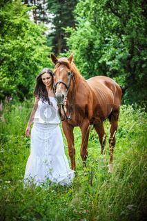 portrait woman horse