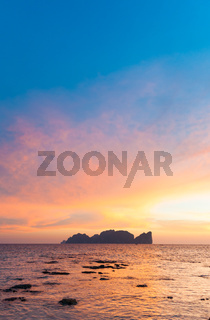 Phi-Phi Lee island in colorful romantic sunset.