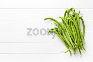 green beans on white kitchen table