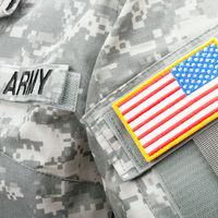 Studio shot of US flag shoulder patch on solder's uniform