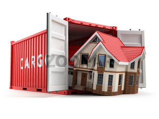 Moving house. Home and cargo shipping container isolated on white. Delivery.