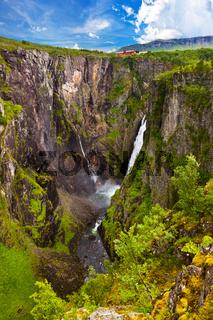 Waterfall Voringfossen in Hardanger Norway