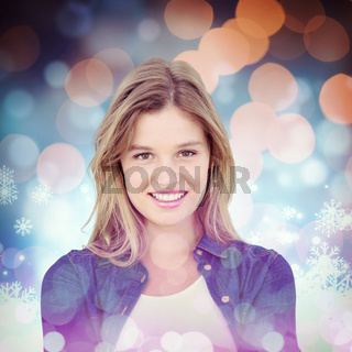 Composite image of pretty hipster presenting her hands