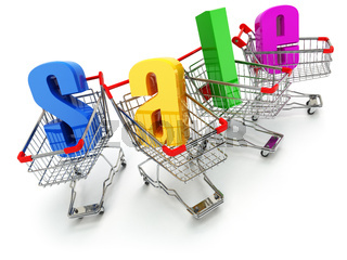 Sale concept. Shopping carts with text isolated on white.