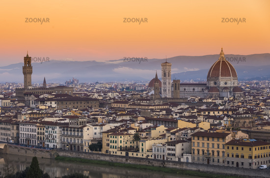 View of Florence after sunset