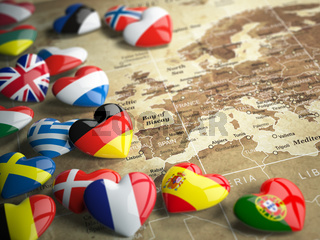 Map of Europe and hearts with flags of european countries. Travel EU concept.