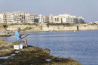 Fischer vor Marsalforn, Gozo, Malta