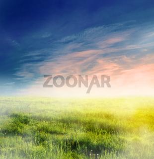 Fairy, magical landscape with sunrise fog