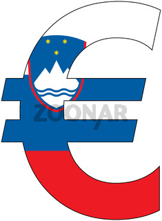 euro with flag of slovenia