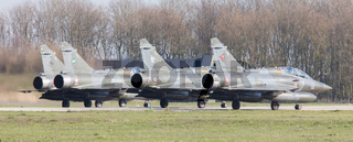 LEEUWARDEN, NETHERLANDS - APRIL 11, 2016: French Air Force Dassault Mirage 2000N during the exercise Frisian Flag. The exercise is considered one of the most important NATO training events this year.